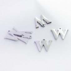 Zawieszka ze stali szlachetnej literka W srebrna 10,7mm