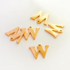 Zawieszka ze stali szlachetnej literka W złota 10,7mm