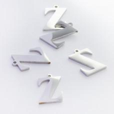 Zawieszka ze stali szlachetnej literka Z srebrna 13,5mm