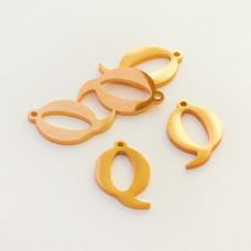 Zawieszka ze stali szlachetnej literka Q złota 14,1mm