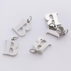 Zawieszka ze stali chirurgicznej literka B srebrna 8mm