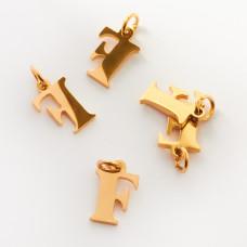 Zawieszka ze stali chirurgicznej literka F złota 8mm