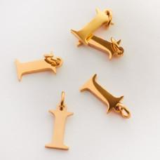 Zawieszka ze stali chirurgicznej literka I złota 8mm