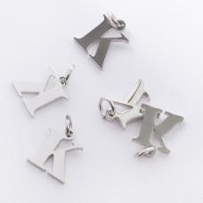 Zawieszka ze stali chirurgicznej literka K srebrna 8mm