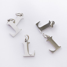 Zawieszka ze stali chirurgicznej literka L srebrna 8mm