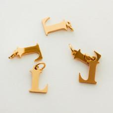 Zawieszka ze stali chirurgicznej literka L złota 8mm