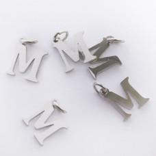 Zawieszka ze stali chirurgicznej literka M srebrna 8mm