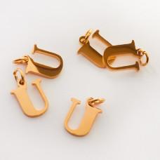 Zawieszka ze stali chirurgicznej literka U złota 8mm