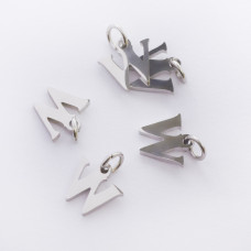 Zawieszka ze stali chirurgicznej literka W srebrna 8mm