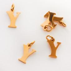 Zawieszka ze stali chirurgicznej literka Y złota 8mm