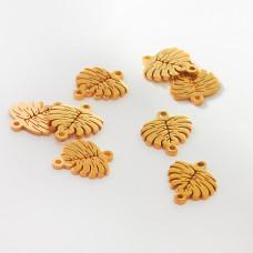 Łącznik ze stali chirurgicznej liść monstery złoty 10mm