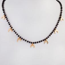 Naszyjnik ze stali chirurgicznej z księżycami i czarnymi kryształami 46,5cm złoty