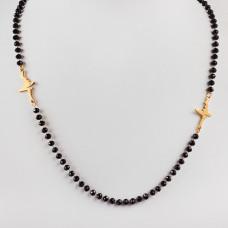 Naszyjnik ze stali chirurgicznej z linią życia i czarnymi kryształami 50,5cm złoty
