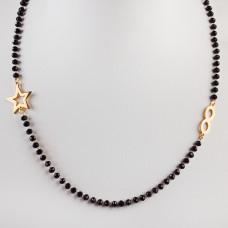 Naszyjnik ze stali chirurgicznej z nieskończonością, gwiazdką i czarnymi kryształami 46,5cm złoty