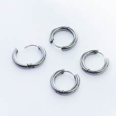 Kolczyki koła zapinane ze stali chirurgicznej srebrny 15mm