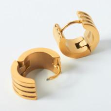 Kolczyki kółka prążkowane ze stali chirurgicznej złote 13mm
