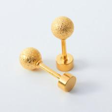Kolczyki sztyfty kulki diamentowe ze stali chirurgicznej złote 5mm