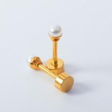 Kolczyki sztyfty z perłami ze stali chirurgicznej złote 2mm