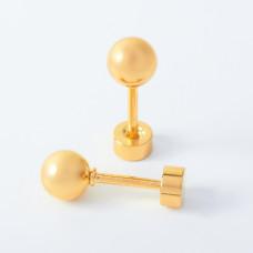 Kolczyki kulki ze stali chirurgicznej złote 5mm