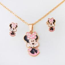 Komplet biżuterii z myszką Minnie ze stali chirurgicznej złoty 45cm