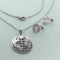 Komplet biżuterii ze stali chirurgicznej z kolczykami kula ziemska 50cm