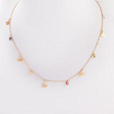 Naszyjnik z mini zawieszkami ze stali chirurgicznej liść miłorzębu i cyrkoniami złoty 41cm