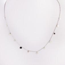 Naszyjnik z mini zawieszkami ze stali chirurgicznej kółeczka srebrny 40,5cm