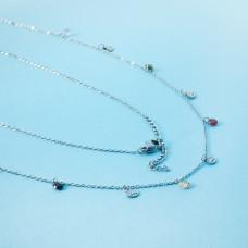Naszyjnik z mini zawieszkami ze stali chirurgicznej oczko i cyrkonie srebrny 41cm
