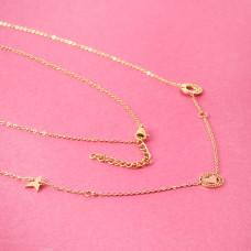 Naszyjnik z mini zawieszkami ze stali chirurgicznej serduszko gwiazdka kółko złoty 42cm