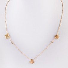 Naszyjnik z mini zawieszkami ze stali chirurgicznej zawieszki ażurowe złoty 42,5cm