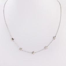 Naszyjnik z mini zawieszkami ze stali chirurgicznej gwiazdki srebrny 39,5cm