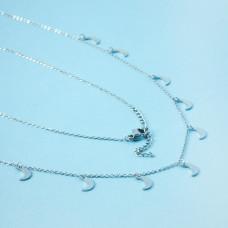 Naszyjnik z mini zawieszkami ze stali chirurgicznej księżyce srebrny 41cm