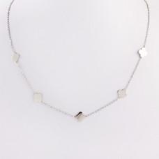 Naszyjnik z mini zawieszkami ze stali chirurgicznej koniczyna marokańska srebrny 40,5cm