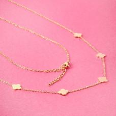 Naszyjnik z mini zawieszkami ze stali chirurgicznej koniczyna marokańska złoty 40,5cm