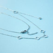 Naszyjnik z mini zawieszkami ze stali chirurgicznej koniczynka marokańska srebrny 40,5cm