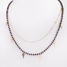 Naszyjnik z mini zawieszkami ze stali chirurgicznej skrzydełka z kryształkami złoty 41cm