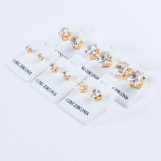 Zestaw kolczyków ze stali chirurgicznej z cyrkonią kwadratowe ( 6 rozmiarów) złote 3-8mm