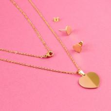 Komplet biżuterii ze stali chirurgicznej pełne serce złoty 45cm