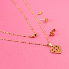 Komplet biżuterii ze stali chirurgicznej diament złoty 45cm