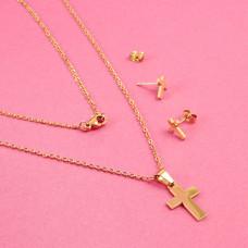 Komplet biżuterii ze stali chirurgicznej krzyż prosty złoty 45cm