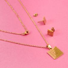 Komplet biżuterii ze stali chirurgicznej kwadrat zawijany złoty 45cm
