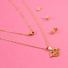 Komplet biżuterii ze stali chirurgicznej serce ze strzałą złoty 45cm