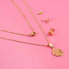 Komplet biżuterii ze stali chirurgicznej liść monstery złoty 45cm