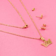 Komplet biżuterii ze stali chirurgicznej korona złoty 45cm