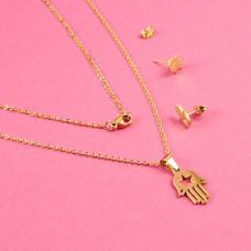 Komplet biżuterii ze stali chirurgicznej ręka fatimy z gwiazdką złoty 45cm