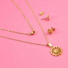Komplet biżuterii ze stali chirurgicznej kwiatek złoty 45cm