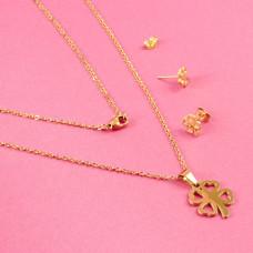 Komplet biżuterii ze stali chirurgicznej kończynka wycinana złoty 45cm