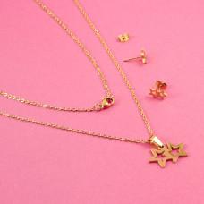 Komplet biżuterii ze stali chirurgicznej dwie gwiazdki złoty 45cm