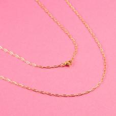 Łańcuszek ze stali chirurgicznej płaskie owale złoty 46cm