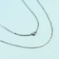 Łańcuszek ze stali chirurgicznej  prostokątne owale srebrny 45,5cm